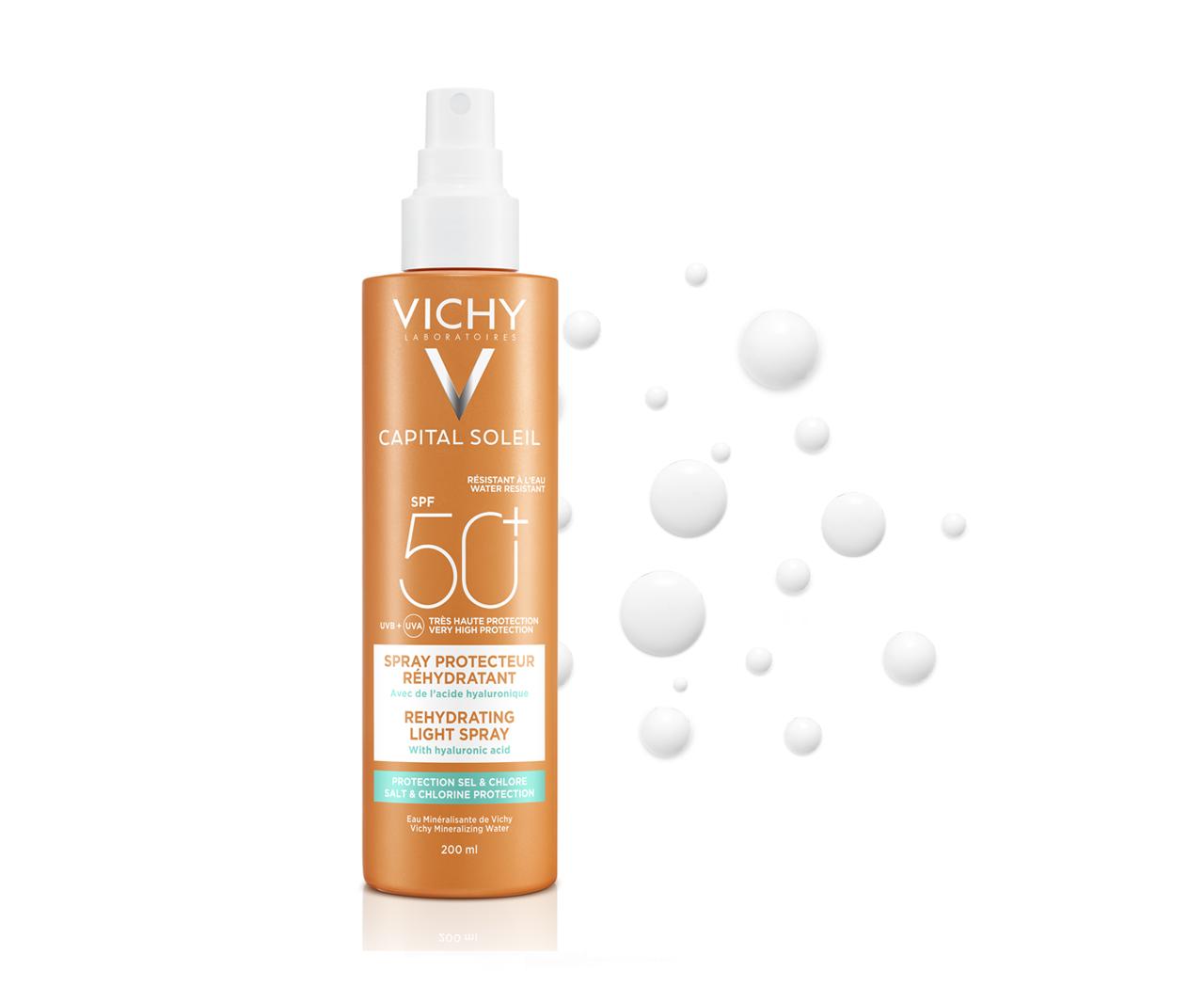 Multiprotekčný sprej proti dehydratácii pokožky. Ochrana pred soľou a chlórom SPF 50+ Veľmi vysoká ochrana